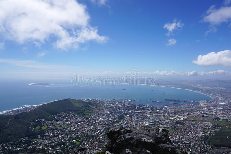 Scenic landscape of Cape town from table mountain. South Africa stock photos