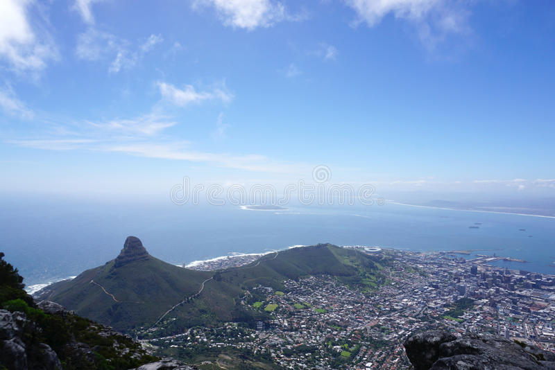 Scenic landscape of Cape town from table mountain. South Africa stock image