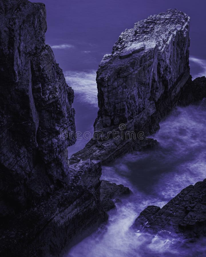 Scenic landscape of dramatic Pembrokeshire coast at night, South Wales, UK stock images