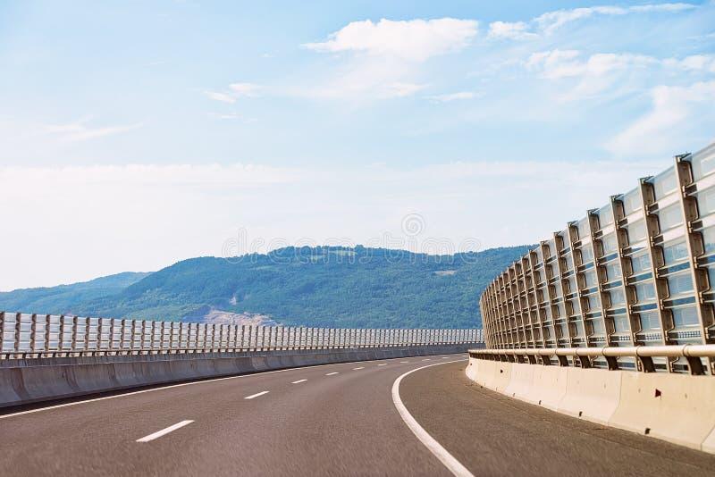 Scenic landscape with empty road Slovenia Julian Alps stock photo