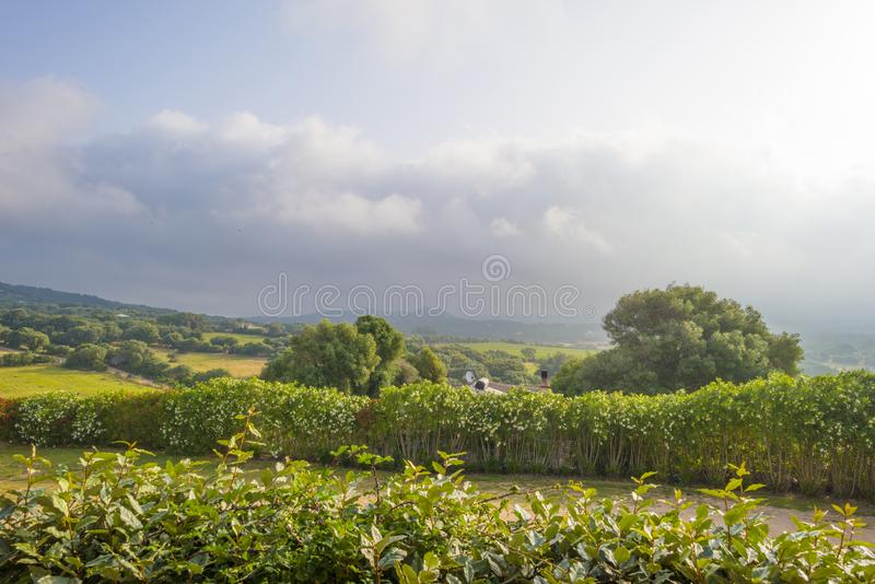 Scenic landscape of green hills and rocky mountains of the island of Sardinia royalty free stock photo