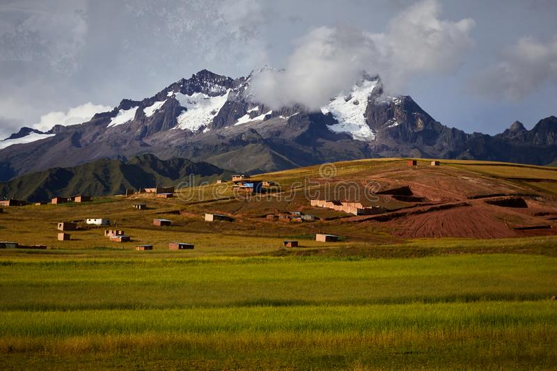 Scenic landscape of valley and Andes mountains stock image