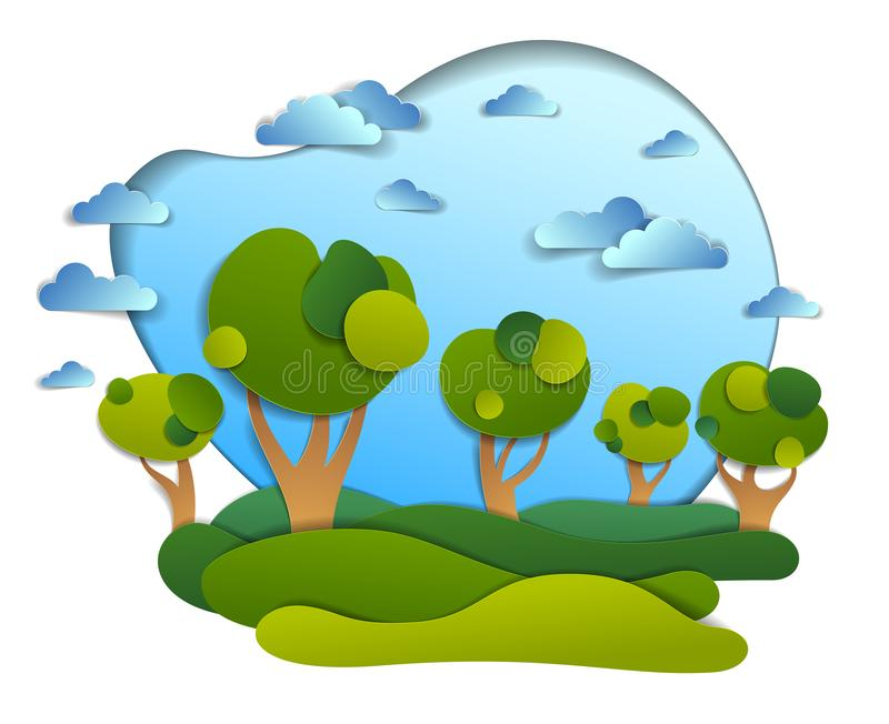 Scenic landscape of meadows and trees, cloudy sky, summer fields and grasslands vector illustration in paper cut kids style. stock illustration