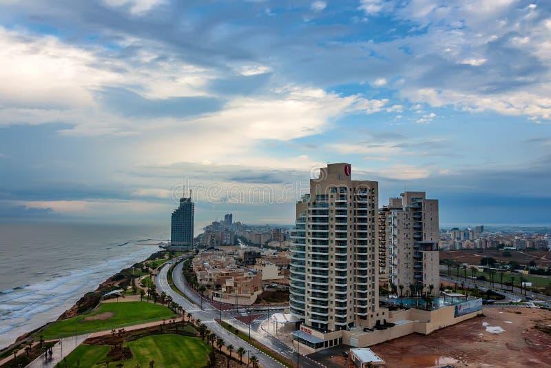Scenic view of Netanya city, Israel. Scenic landscape of Mediterranean coast of Netanya city, Israel stock images