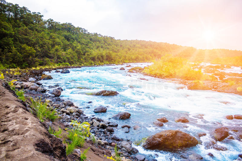 Scenic landscape with mountain river stock photography