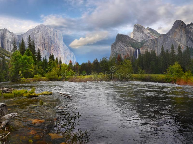 Yosemite Valley Mountains, US National Parks. Scenic landscape and mountains in Yosemite Valley. Yosemite National Park, California. U.S. National Parks stock photography