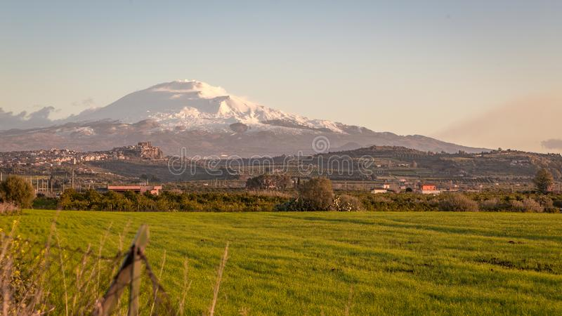 Lanscape of Mt Etna and Motta royalty free stock image