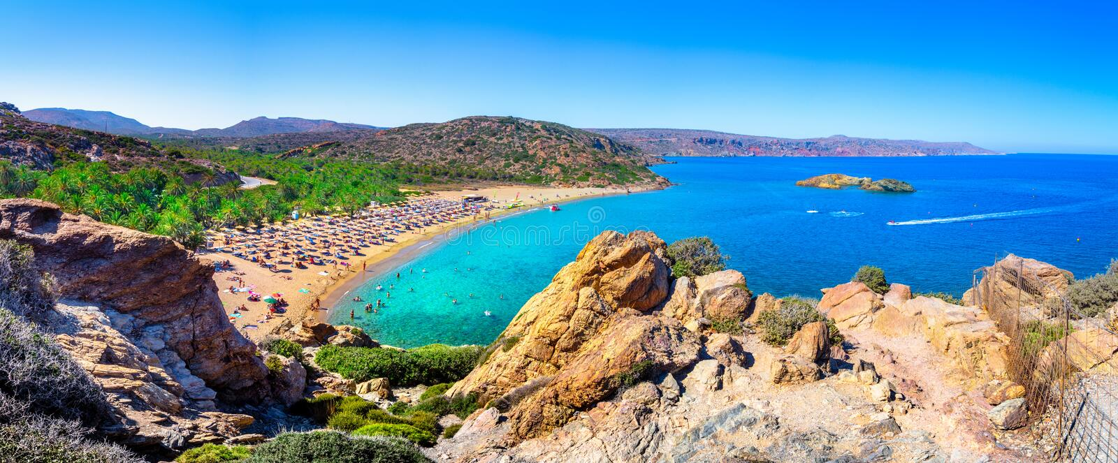 Scenic landscape of palm trees, turquoise water and tropical beach, Vai, Crete. Greece stock photo