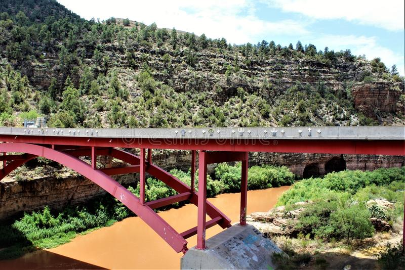 San Carlos Apache Indian Reservation, Gila County, Arizona, United States. Scenic landscape and pedestrian bridge view of the San Carlos Apache Indian royalty free stock image