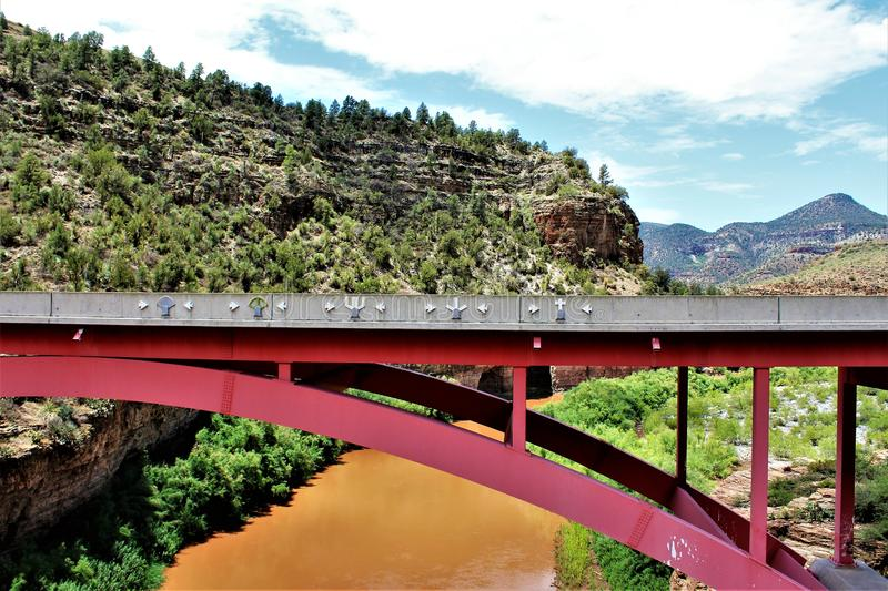 San Carlos Apache Indian Reservation, Gila County, Arizona, United States. Scenic landscape and pedestrian bridge view of the San Carlos Apache Indian stock photo