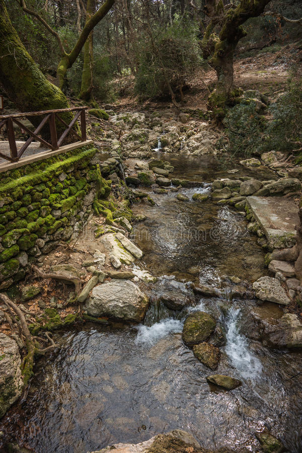 Scenic landscape with a river at Seven springs in Rhodes. Greece royalty free stock image
