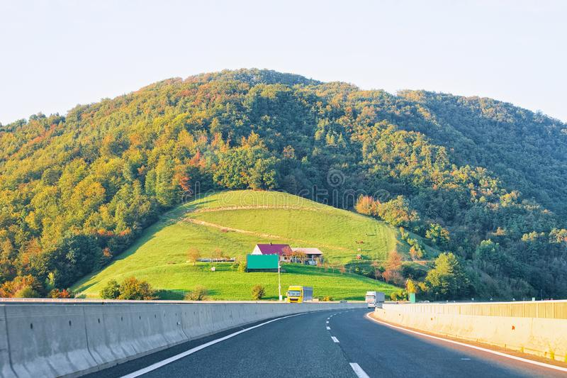 Scenic landscape and road in Slovenia Julian Alps stock photography