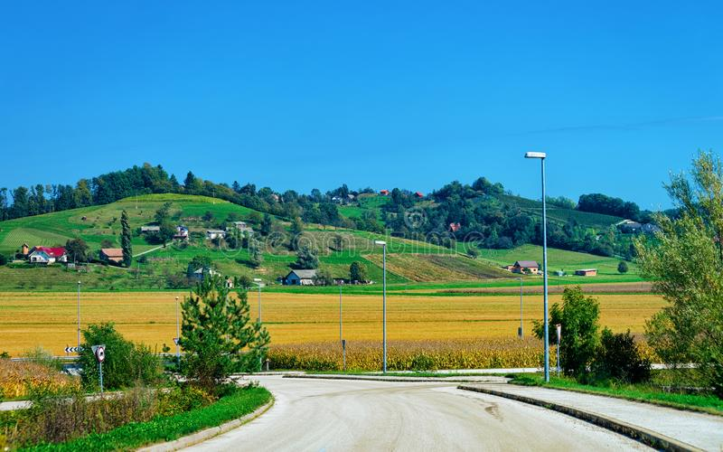 Scenic landscape at road in Slovenia Julian Alps royalty free stock image