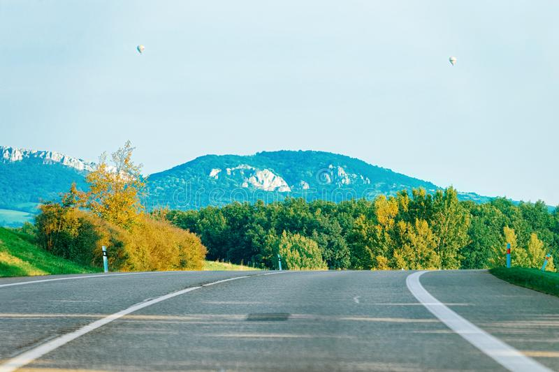 Scenic landscape with road in Slovenia Julian Alps royalty free stock photo