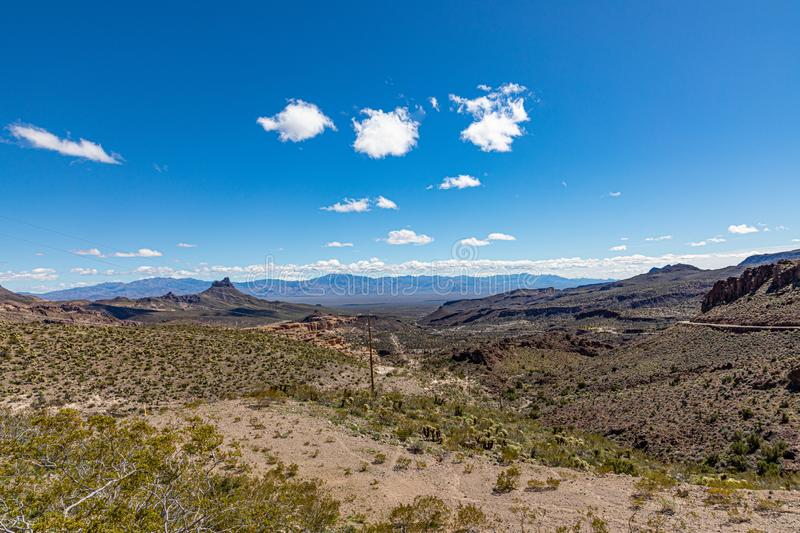 Scenic landscape of Route 66 near Golden Valley royalty free stock photography