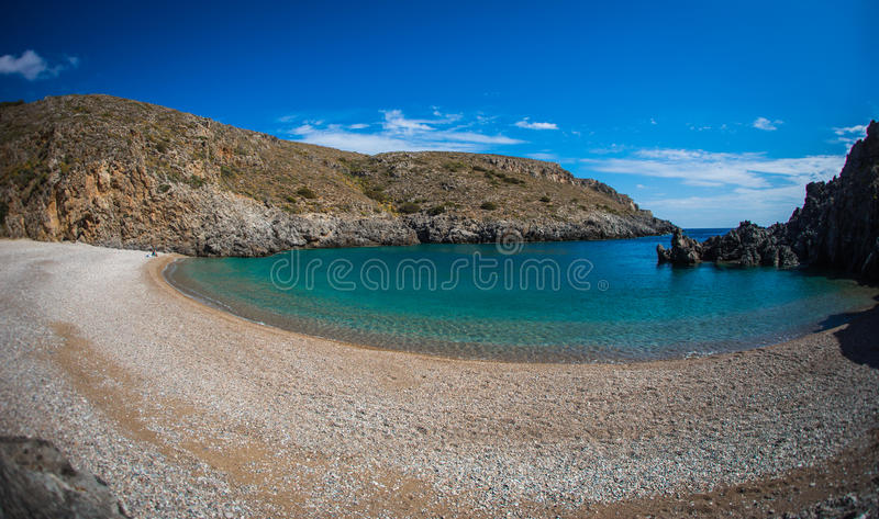 Scenic landscape with seaview, Kythira, Greece stock photos