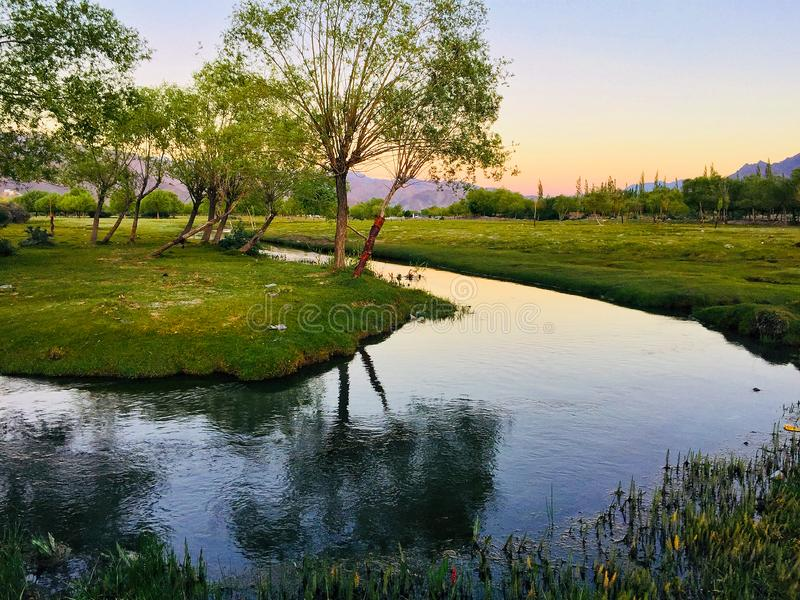 Scenic landscape during sunset from the camp. royalty free stock photography