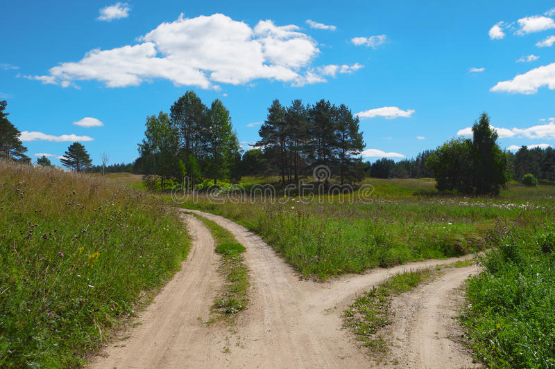 Scenic landscape, two path, choose way, split road stock photography