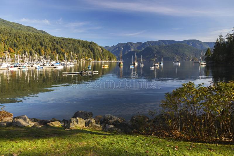 Deep Cove Indian Arm Moored Yachts Landscape Vancouver BC Canada stock photos