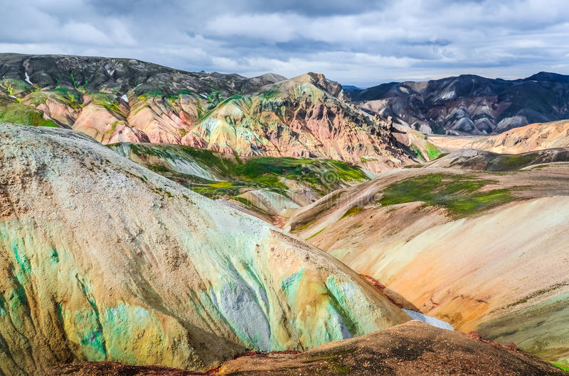 Scenic landscape view of Landmannalaugar colorful volcanic mount. Ains, Iceland stock images
