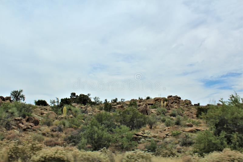 Scenic landscape view Las Vegas to Phoenix, Arizona, United States. Roadside scenic landscape view of vegetation, rocks and mountains on route US-93 south, Las stock photo