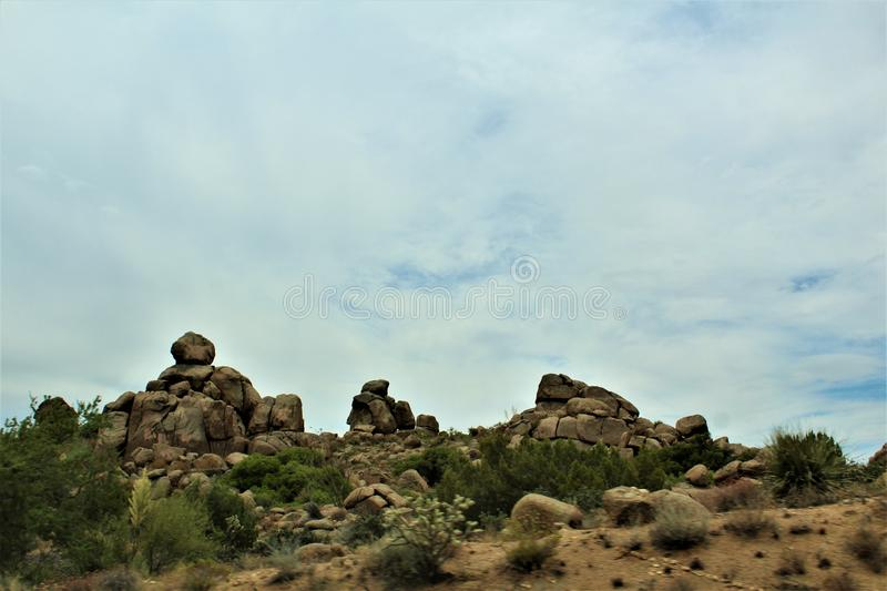 Scenic landscape view Las Vegas to Phoenix, Arizona, United States. Roadside scenic landscape view of vegetation, rocks and mountains on route US-93 south, Las royalty free stock photos