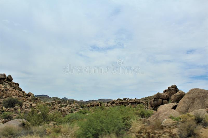 Scenic landscape view Las Vegas to Phoenix, Arizona, United States. Roadside scenic landscape view of vegetation, rocks and mountains on route US-93 south, Las stock image
