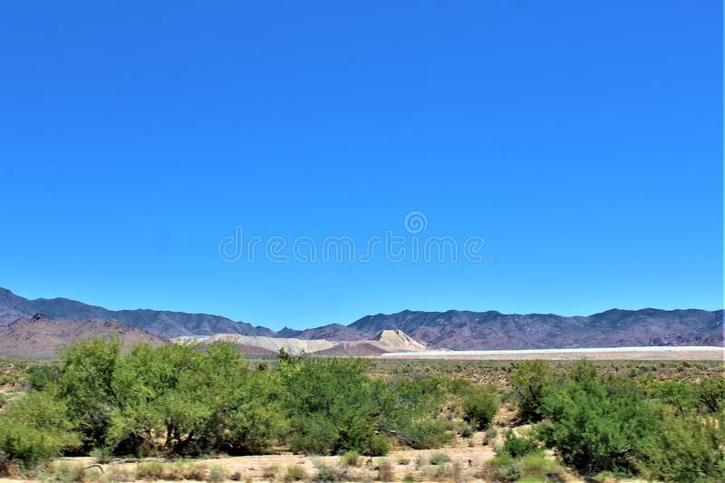Scenic landscape view Phoenix to Las Vegas, Arizona, United States. Roadside scenic landscape view of vegetation, rocks and mountains on route US-93 north stock images