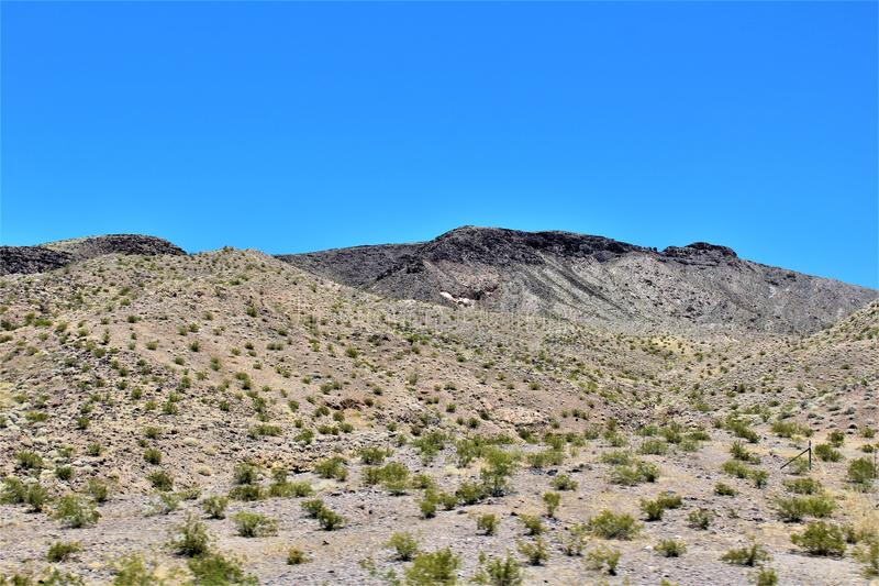 Scenic landscape view Phoenix to Las Vegas, Arizona, United States. Roadside scenic landscape view of vegetation, rocks and mountains on route US-93 north royalty free stock photo