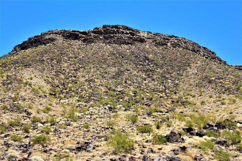 Scenic landscape view Phoenix to Las Vegas, Arizona, United States. Roadside scenic landscape view of vegetation, rocks and mountains on route US-93 north royalty free stock image