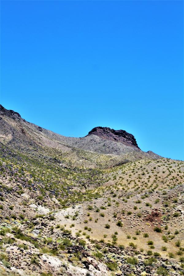 Scenic landscape view Phoenix to Las Vegas, Arizona, United States. Roadside scenic landscape view of vegetation, rocks and mountains on route US-93 north royalty free stock photography