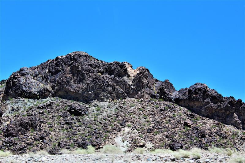 Scenic landscape view Phoenix to Las Vegas, Arizona, United States. Roadside scenic landscape view of vegetation, rocks and mountains on route US-93 north stock photos