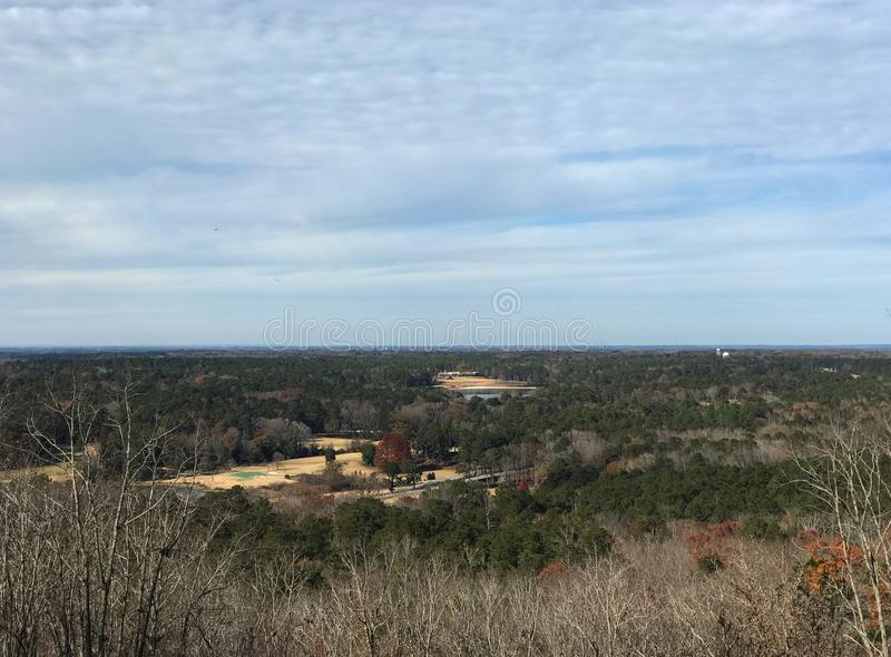 Scenic View from the top of Pine Mountain in Georgia. A scenic landscape view of Pine Mountain Valley as seen from Pine Mountain in the FDR Franklin Delano royalty free stock image