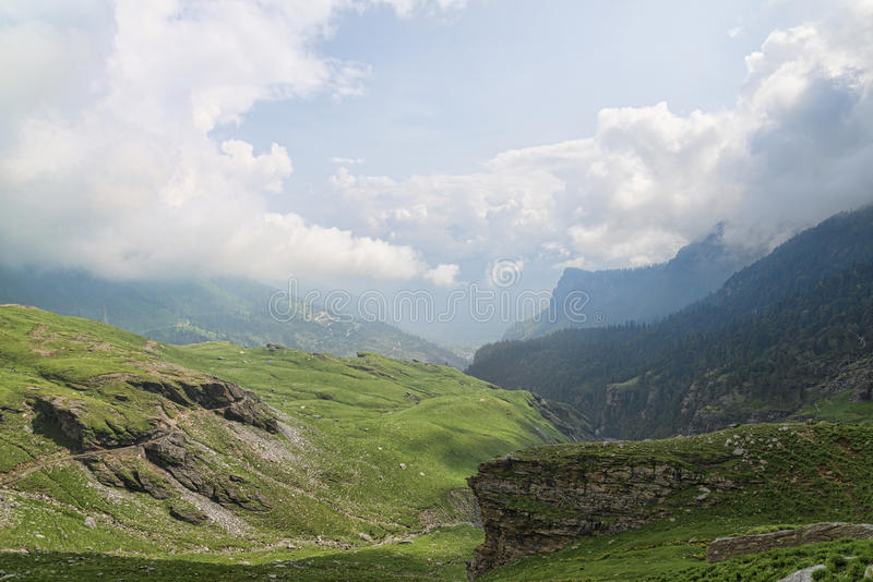 Scenic landscape view from Rohtang pass road royalty free stock images