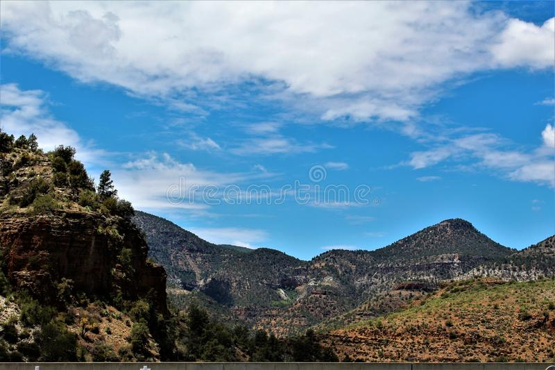 San Carlos Apache Indian Reservation, Gila County, Arizona, United States. Scenic landscape view of San Carlos Apache Indian Reservation, located in Gila County stock photos