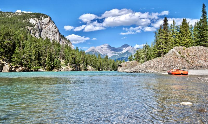 Scenic views over the Bow River in Banff - Alberta, Canada royalty free stock image
