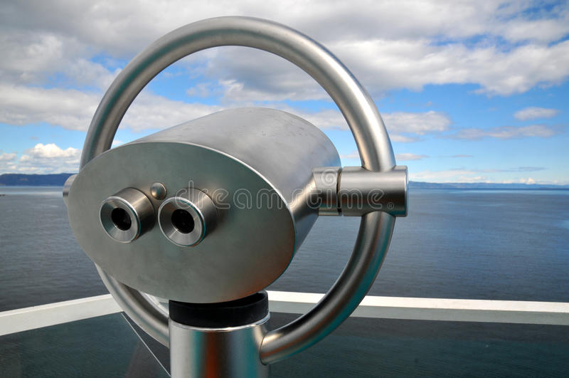 Scenic lookout Binoculars at the sea stock photo