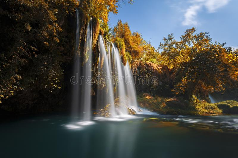The scenic lush green park surrounds the gorge with Upper Duden Waterfall, the popular tourist place, that keeps shade and fresh a stock image