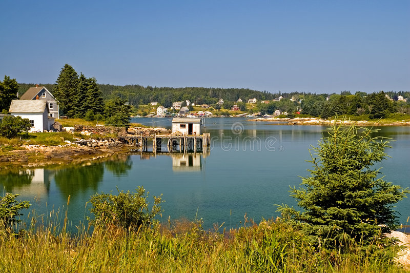Download Scenic Maine Fishing Village Stock Image - Image: 2969309