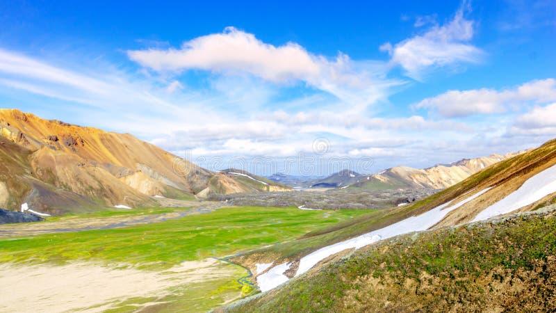 Scenic Mountain landscape in Iceland. Landmannalaugar, Fjallabak Nature Reserve stock photography