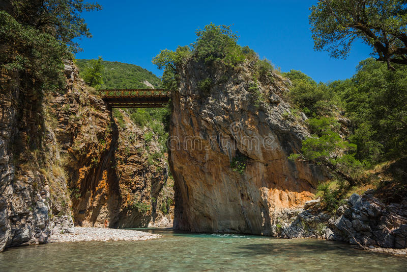 Scenic mountain landscape with Krikiliotis river, Evritania royalty free stock photography