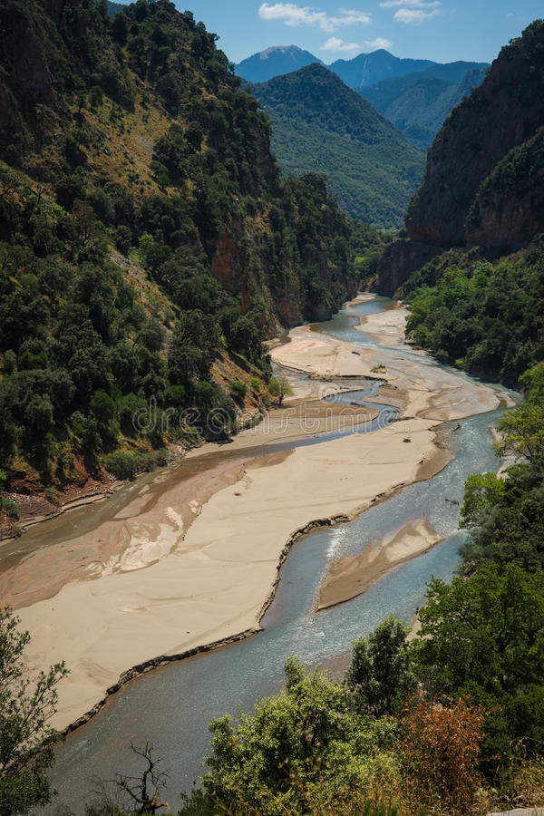 Scenic mountain landscape with Krikiliotis river, Evritania royalty free stock image