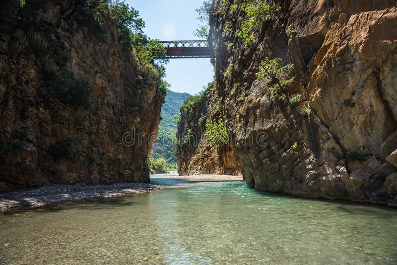 Scenic mountain landscape with Krikiliotis river, Evritania royalty free stock images