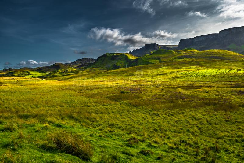 Scenic Mountain Landscape At The Old Man Of Storr Formation On The Isle Of Skye In Scotland stock image