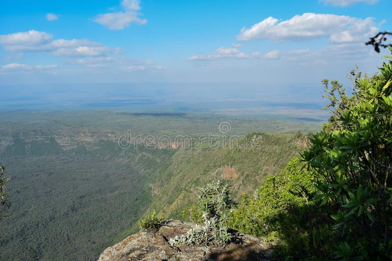Scenic Mountain landscapes against sky. Panoramic mountain landscapes in rural Kenya, Mount Suswa, Rift Valley, Kenya stock images