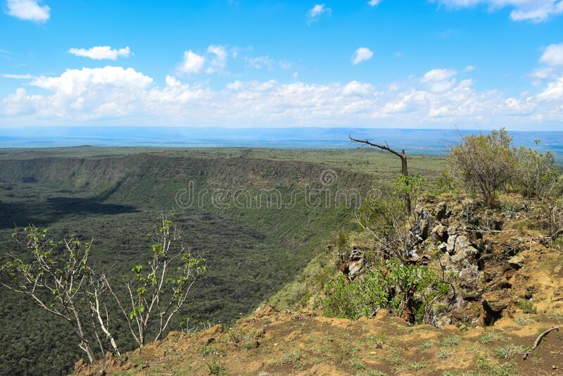 Scenic Mountain landscapes against sky. Panoramic mountain landscapes in rural Kenya, Mount Suswa, Rift Valley, Kenya royalty free stock images