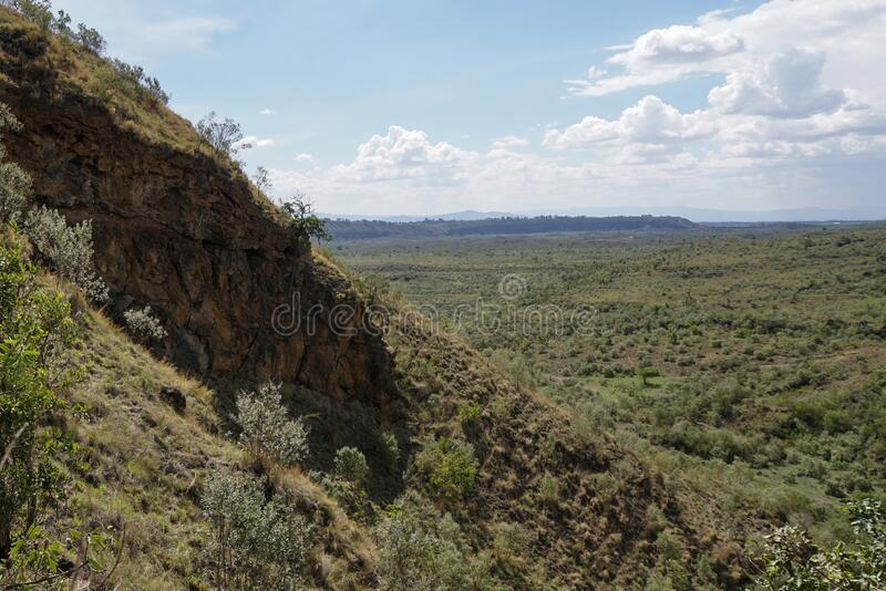 Scenic Mountain landscapes in rural Kenya. The Volcanic crater on Menengai Crater, Nakuru, Rift Valley, Kenya royalty free stock images