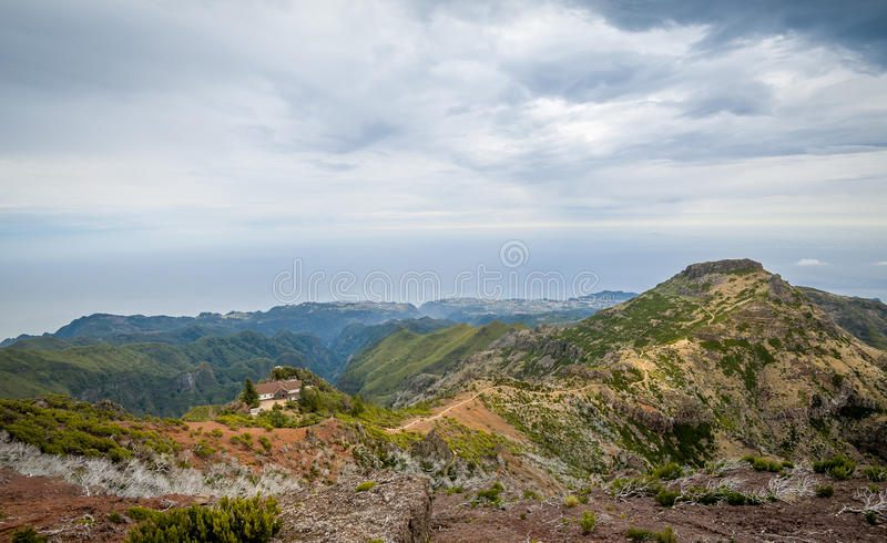 Scenic mountain view from Pico Ruivo lookout point. stock photo