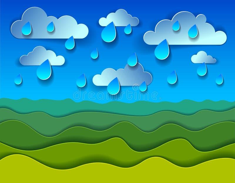 Scenic nature landscape of green grass meadow under rain drops cloudy. Rainy sky cartoon paper cut modern style vector illustration vector illustration
