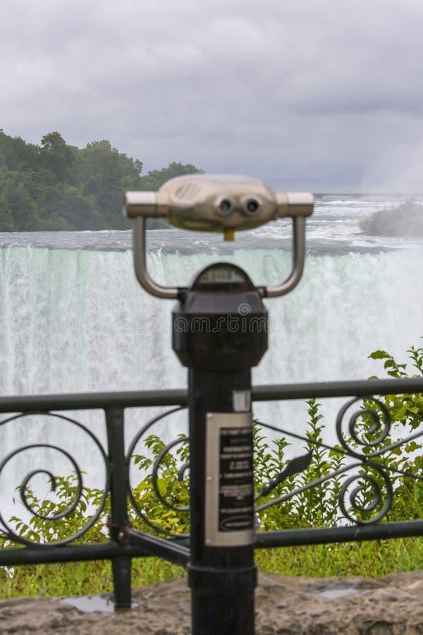 Scenic Niagara Falls with binoculars royalty free stock photo